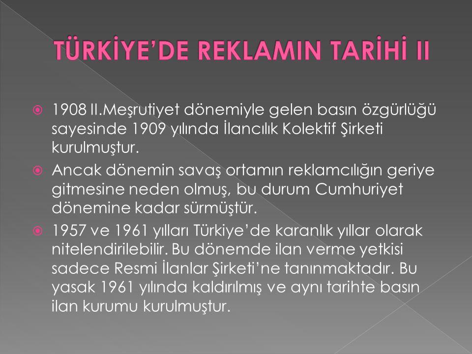TÜRKİYE'DE REKLAMIN TARİHİ II