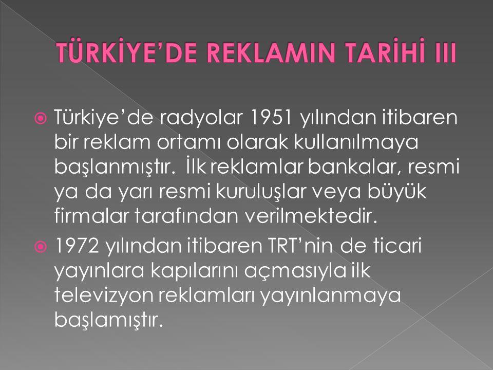 TÜRKİYE'DE REKLAMIN TARİHİ III
