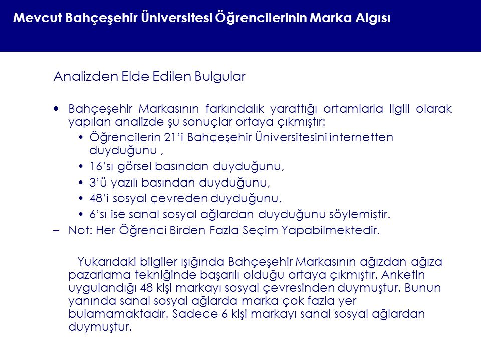 Mevcut Bahçeşehir Üniversitesi Öğrencilerinin Marka Algısı