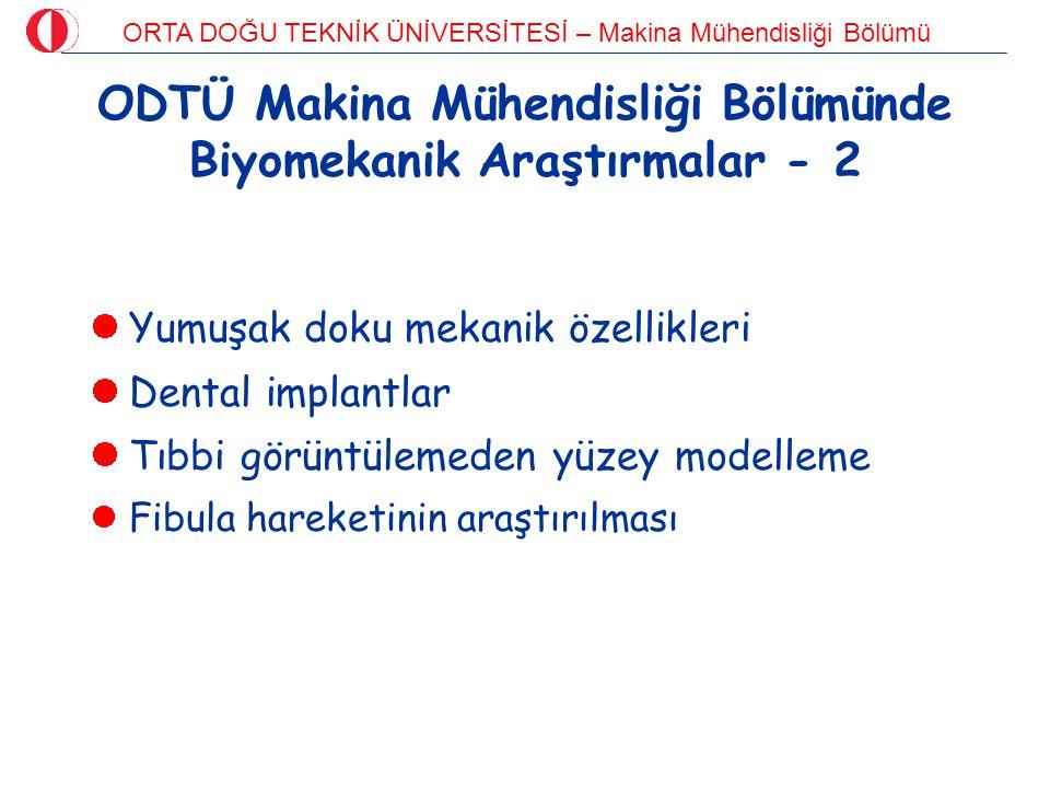 ODTÜ Makina Mühendisliği Bölümünde Biyomekanik Araştırmalar - 2