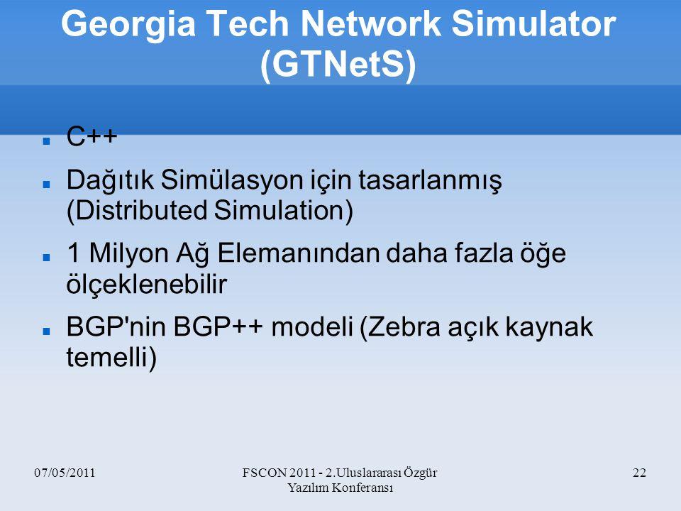 Georgia Tech Network Simulator (GTNetS)