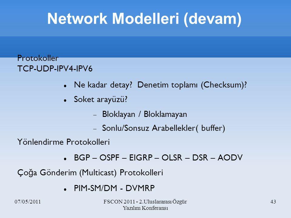 Network Modelleri (devam)