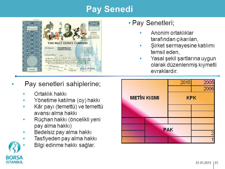 Pay Senedi Pay Senetleri; Pay senetleri sahiplerine;