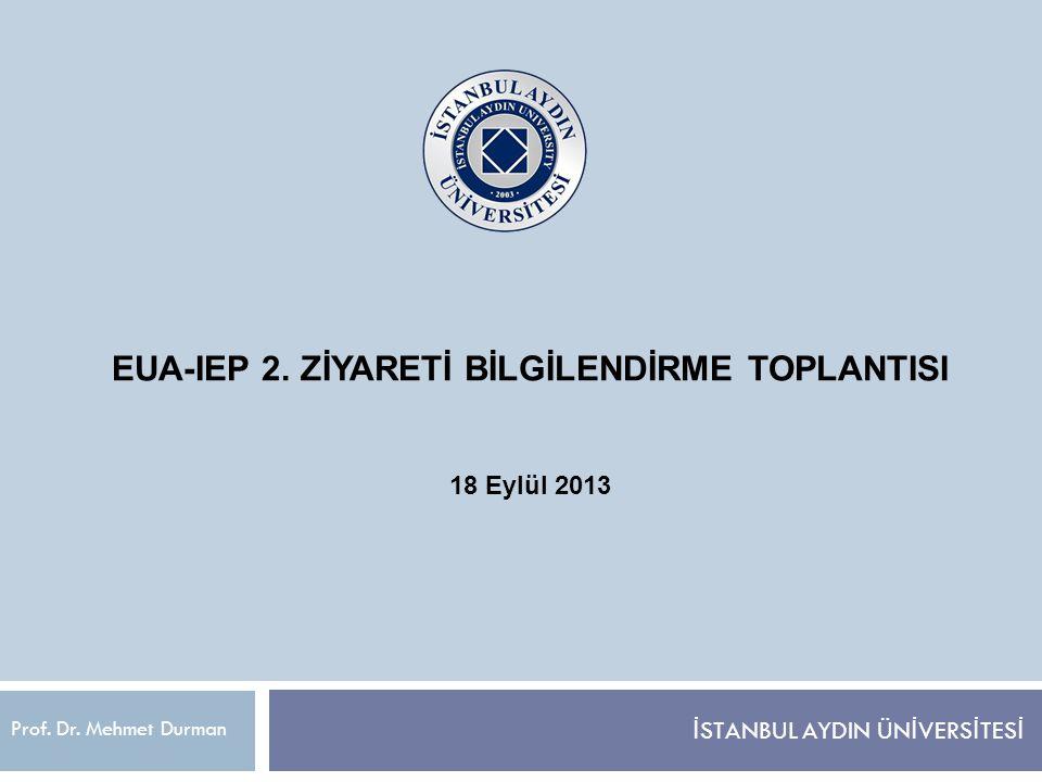 EUA-IEP 2. ZİYARETİ BİLGİLENDİRME TOPLANTISI 18 Eylül 2013