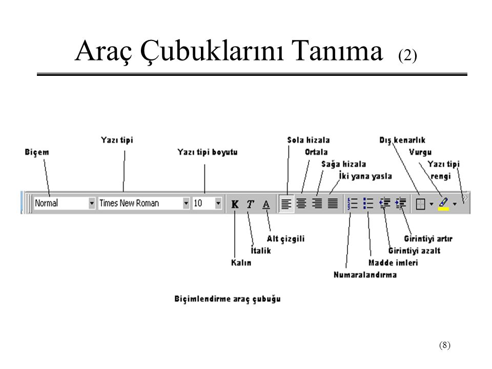Araç Çubuklarını Tanıma (2)