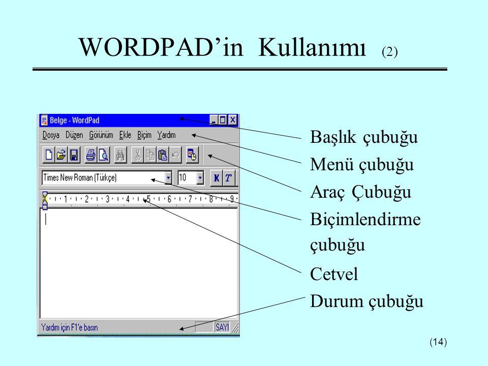 WORDPAD'in Kullanımı (2)