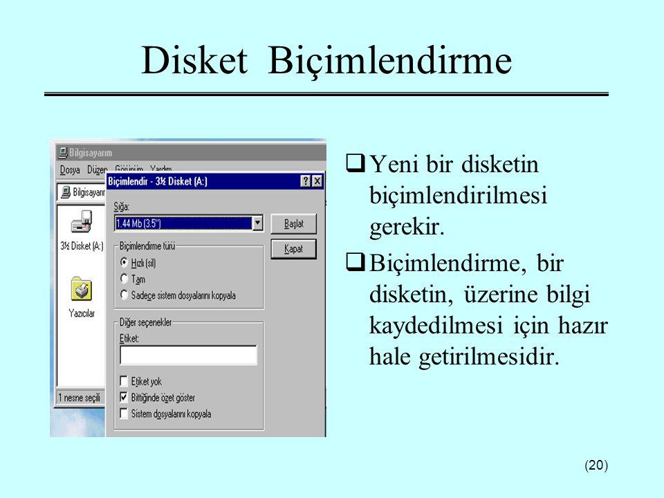 Disket Biçimlendirme Yeni bir disketin biçimlendirilmesi gerekir.