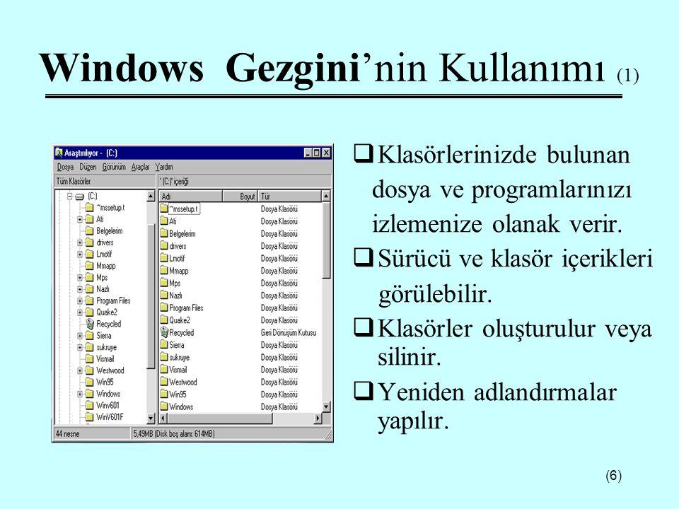 Windows Gezgini'nin Kullanımı (1)