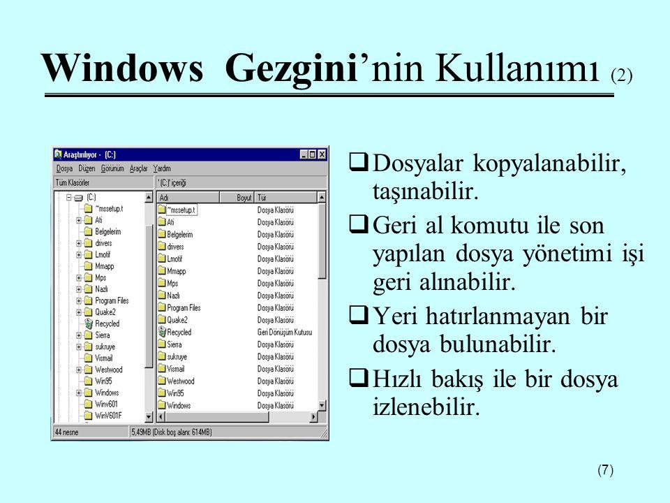 Windows Gezgini'nin Kullanımı (2)