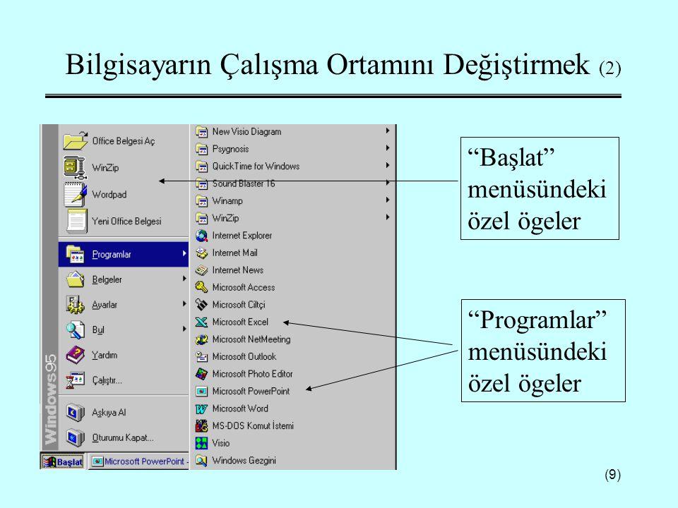 Bilgisayarın Çalışma Ortamını Değiştirmek (2)