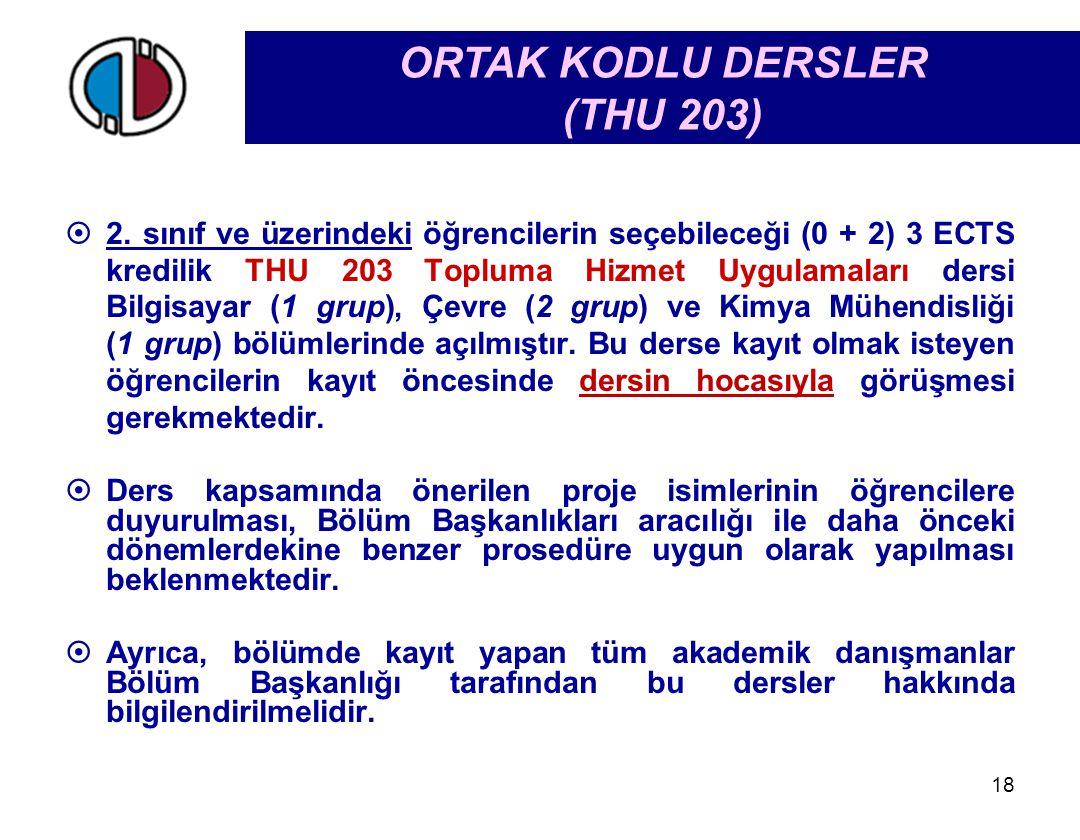 ORTAK KODLU DERSLER (THU 203)