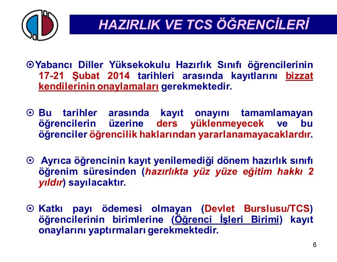 HAZIRLIK VE TCS ÖĞRENCİLERİ