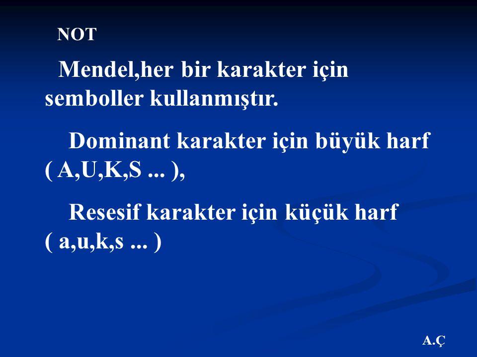 Dominant karakter için büyük harf ( A,U,K,S ... ),