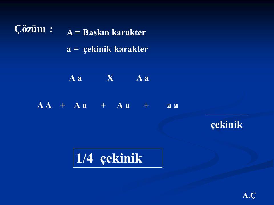 1/4 çekinik Çözüm : çekinik A = Baskın karakter a = çekinik karakter