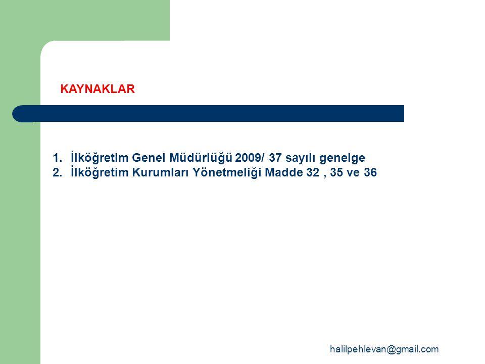 İlköğretim Genel Müdürlüğü 2009/ 37 sayılı genelge