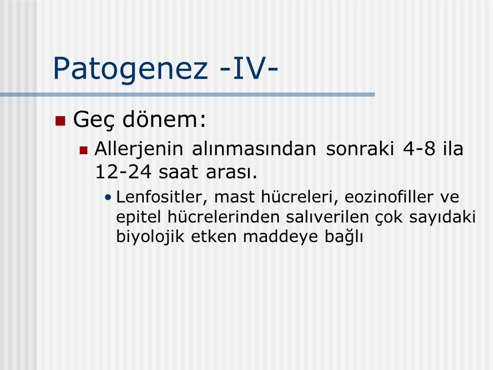 Patogenez -IV- Geç dönem: