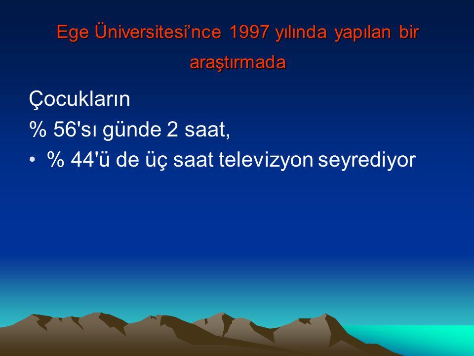 Ege Üniversitesi'nce 1997 yılında yapılan bir araştırmada