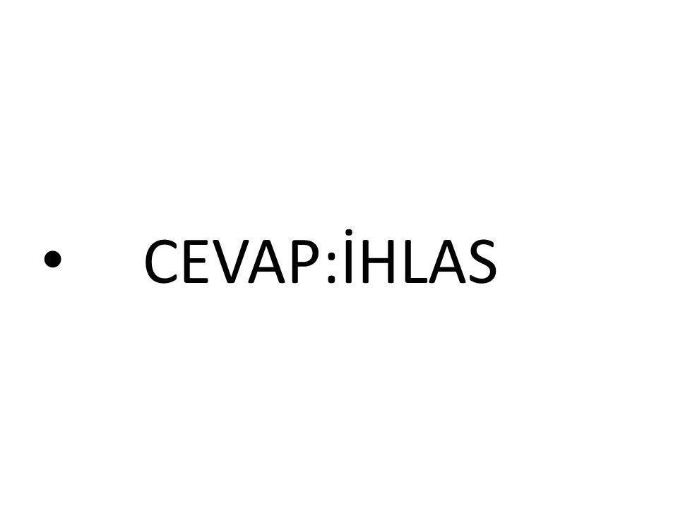 CEVAP:İHLAS