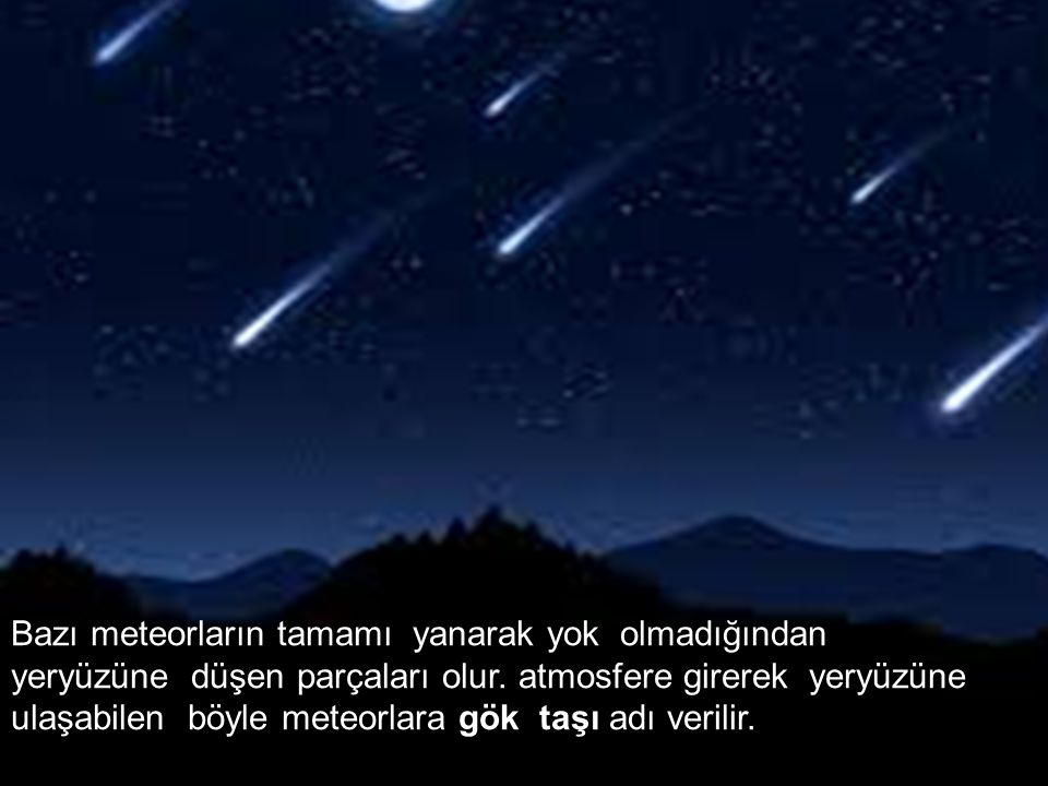 Bazı meteorların tamamı yanarak yok olmadığından yeryüzüne düşen parçaları olur.