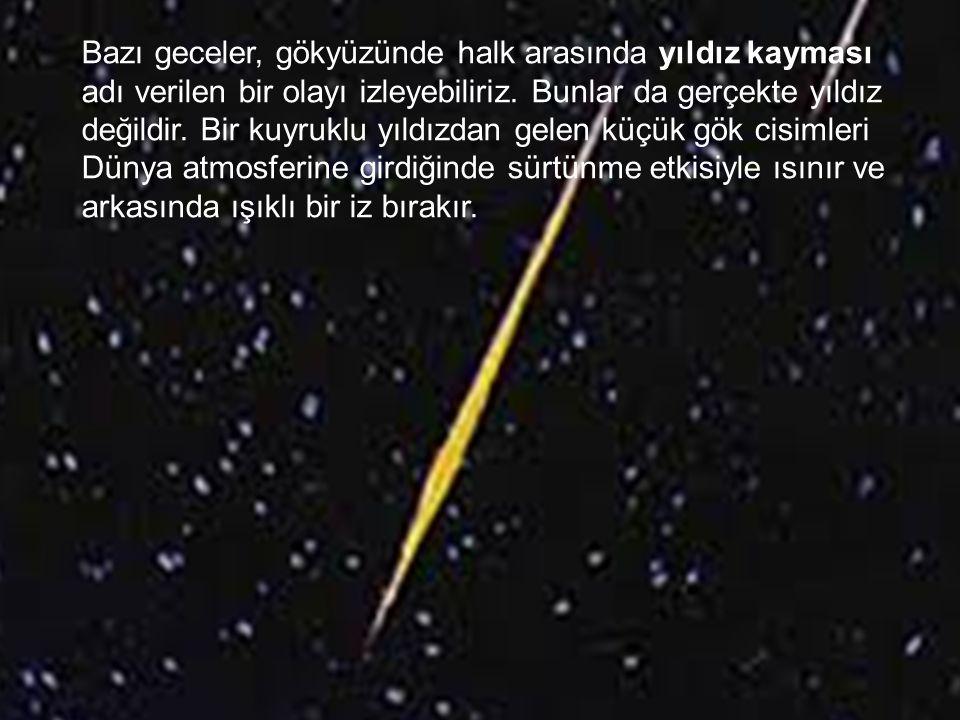 Bazı geceler, gökyüzünde halk arasında yıldız kayması adı verilen bir olayı izleyebiliriz.