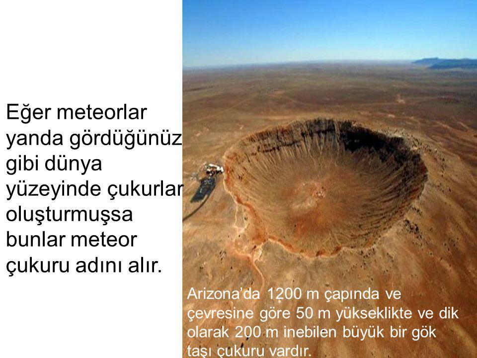 Eğer meteorlar yanda gördüğünüz gibi dünya yüzeyinde çukurlar oluşturmuşsa bunlar meteor çukuru adını alır.