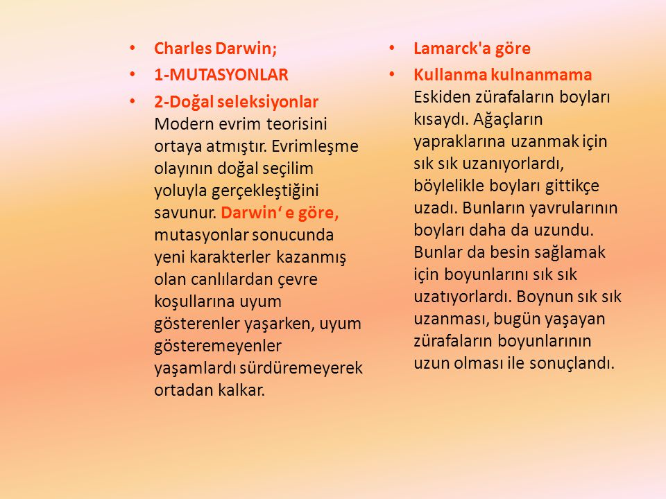 Charles Darwin; 1-MUTASYONLAR.