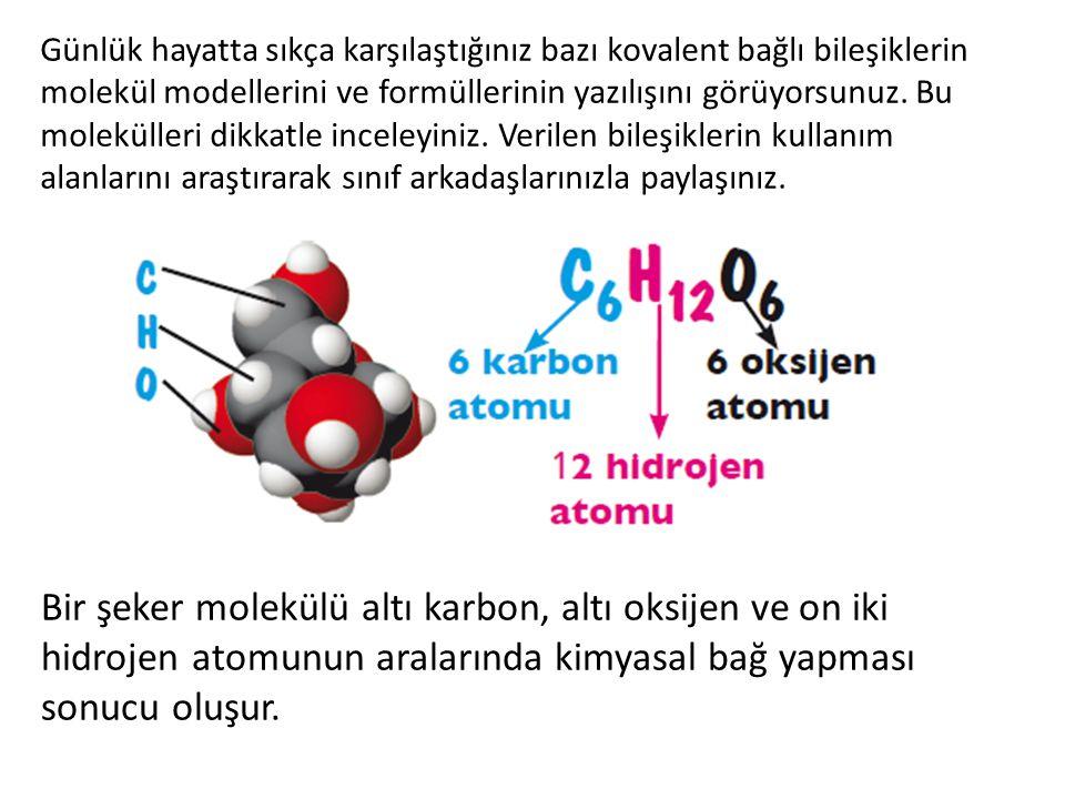 Günlük hayatta sıkça karşılaştığınız bazı kovalent bağlı bileşiklerin molekül modellerini ve formüllerinin yazılışını görüyorsunuz. Bu molekülleri dikkatle inceleyiniz. Verilen bileşiklerin kullanım alanlarını araştırarak sınıf arkadaşlarınızla paylaşınız.
