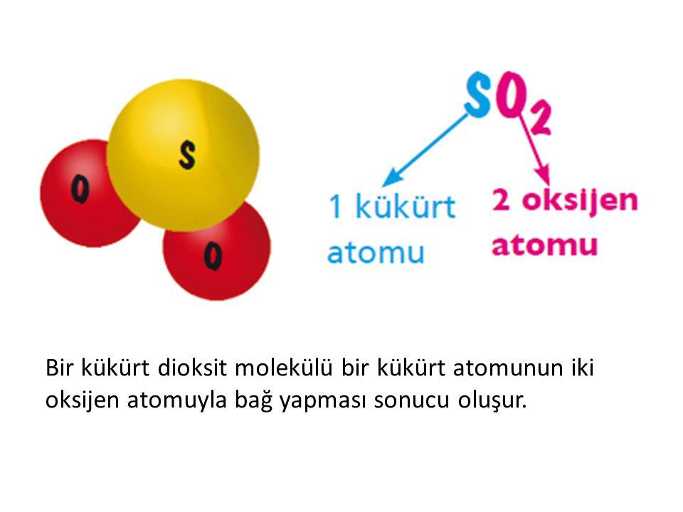 Bir kükürt dioksit molekülü bir kükürt atomunun iki oksijen atomuyla bağ yapması sonucu oluşur.