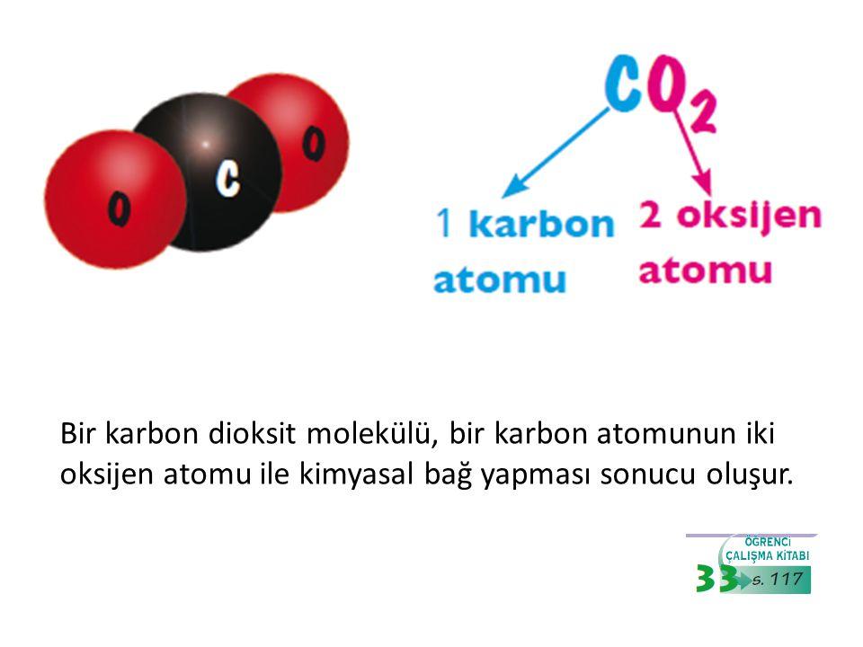 Bir karbon dioksit molekülü, bir karbon atomunun iki oksijen atomu ile kimyasal bağ yapması sonucu oluşur.