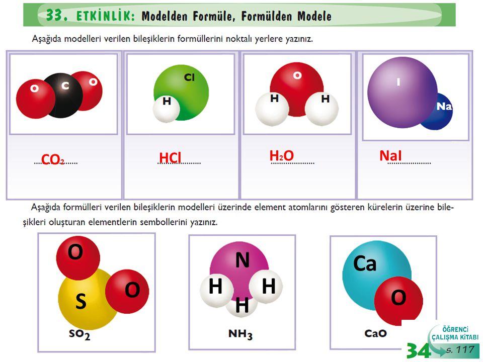HCl H2O NaI CO2 O S N H O Ca