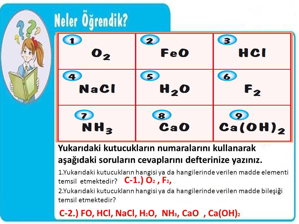 C-2.) FO, HCl, NaCl, H2O, NH3, CaO , Ca(OH)2