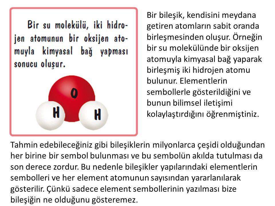 Bir bileşik, kendisini meydana getiren atomların sabit oranda birleşmesinden oluşur. Örneğin bir su molekülünde bir oksijen atomuyla kimyasal bağ yaparak birleşmiş iki hidrojen atomu bulunur. Elementlerin sembollerle gösterildiğini ve bunun bilimsel iletişimi kolaylaştırdığını öğrenmiştiniz.