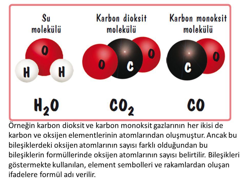 Örneğin karbon dioksit ve karbon monoksit gazlarının her ikisi de karbon ve oksijen elementlerinin atomlarından oluşmuştur.