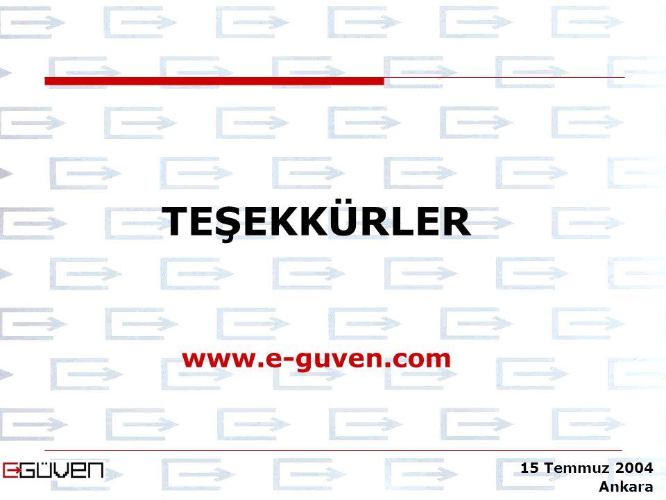 TEŞEKKÜRLER www.e-guven.com 15 Temmuz 2004 Ankara