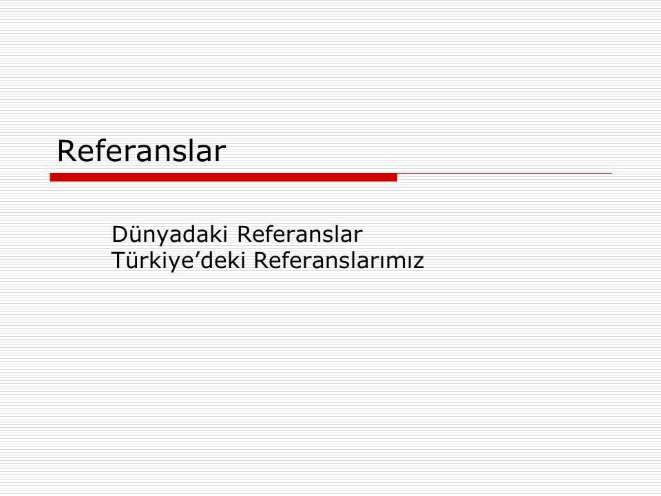 Dünyadaki Referanslar Türkiye'deki Referanslarımız
