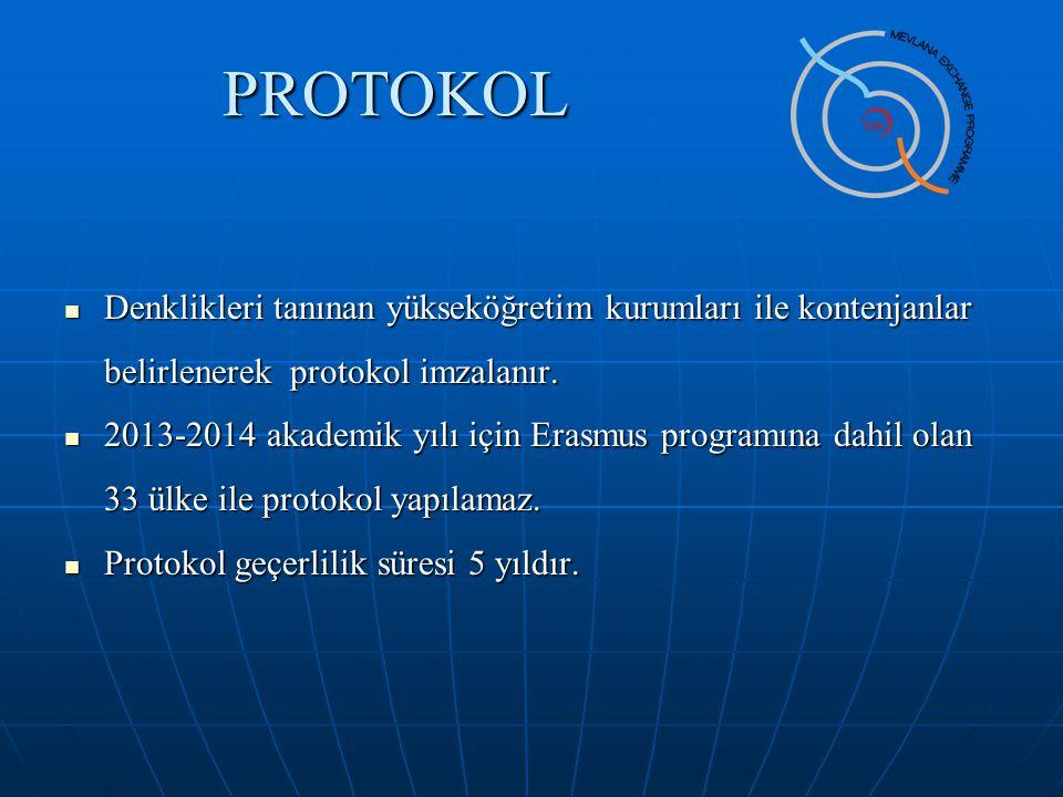 PROTOKOL Denklikleri tanınan yükseköğretim kurumları ile kontenjanlar belirlenerek protokol imzalanır.