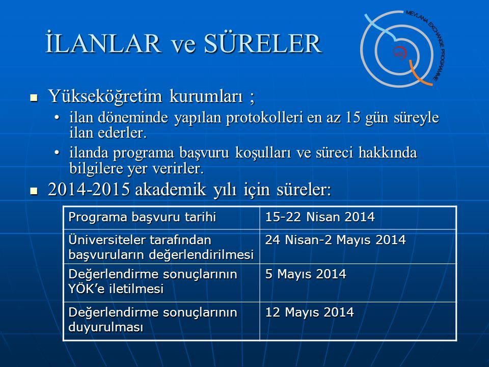 İLANLAR ve SÜRELER Yükseköğretim kurumları ;