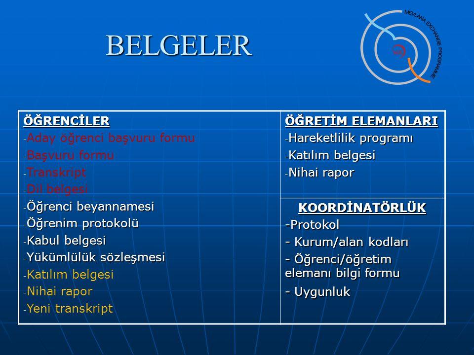 BELGELER ÖĞRENCİLER Aday öğrenci başvuru formu Başvuru formu