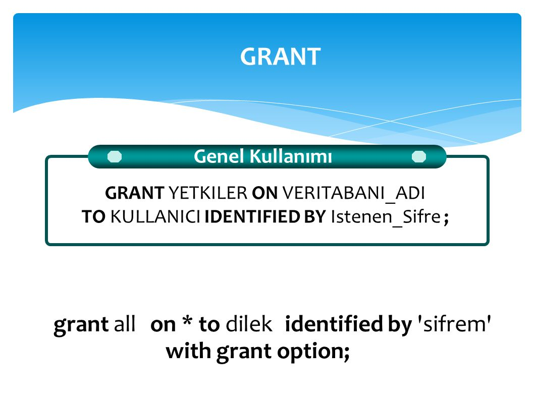 GRANT grant all on * to dilek identified by sifrem