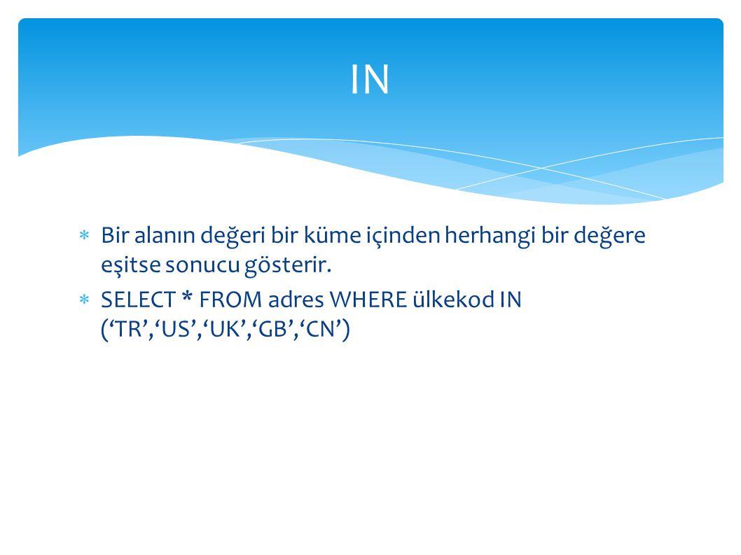 IN Bir alanın değeri bir küme içinden herhangi bir değere eşitse sonucu gösterir.