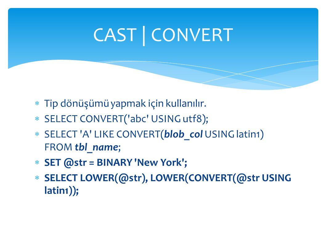 CAST | CONVERT Tip dönüşümü yapmak için kullanılır.