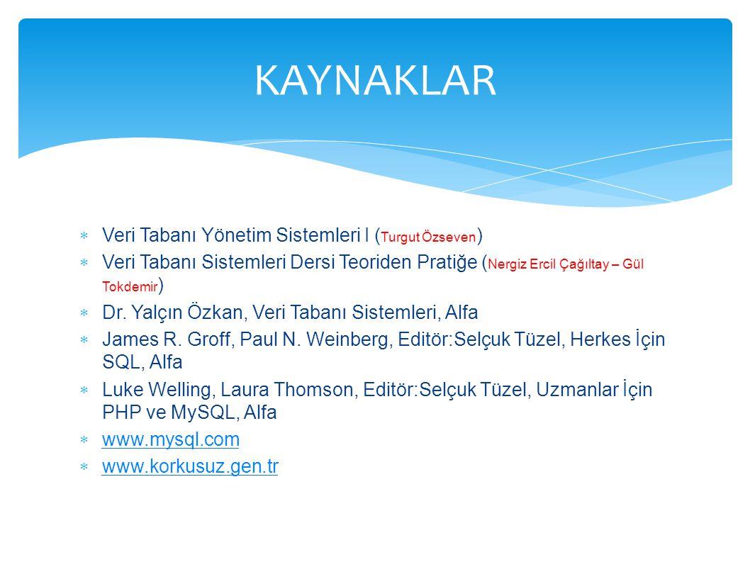 KAYNAKLAR Veri Tabanı Yönetim Sistemleri I (Turgut Özseven)