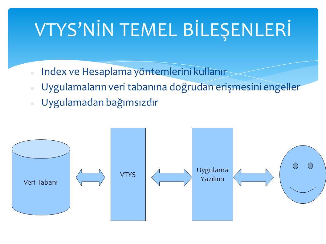 VTYS'NİN TEMEL BİLEŞENLERİ