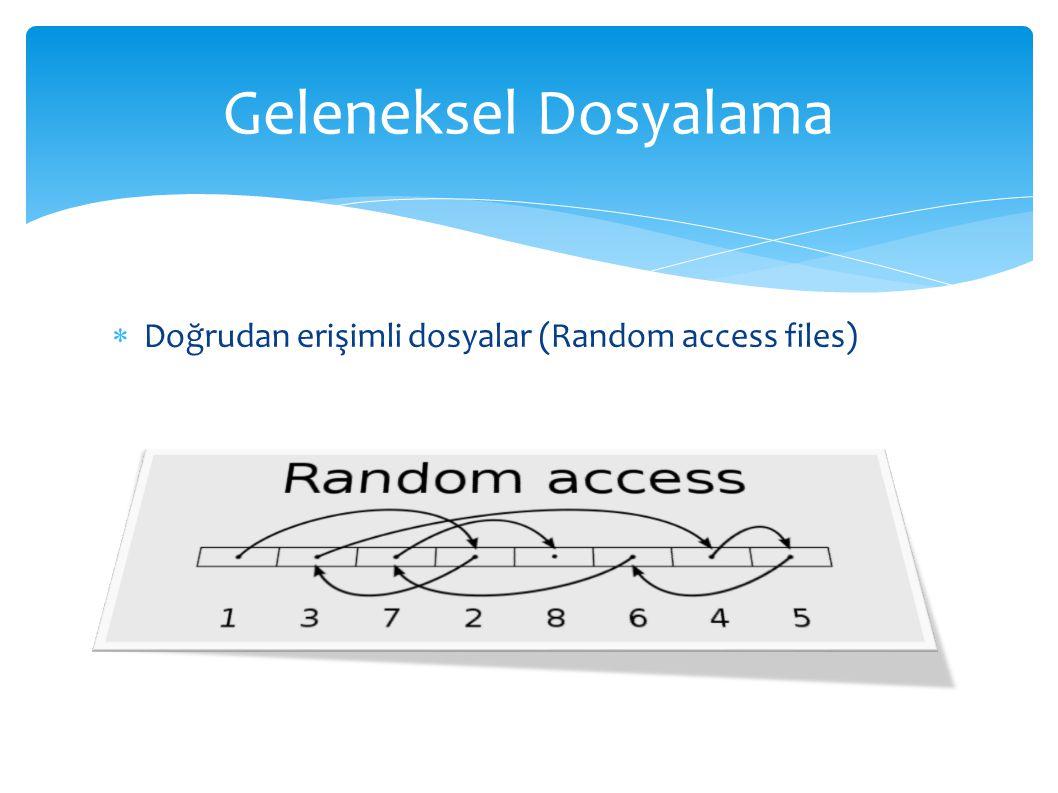 Geleneksel Dosyalama Doğrudan erişimli dosyalar (Random access files)