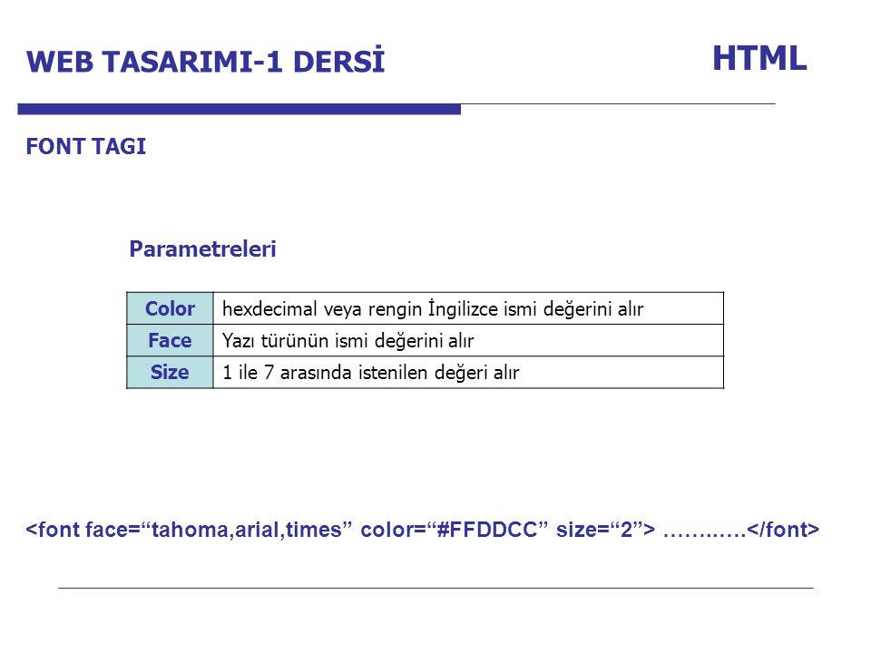 HTML WEB TASARIMI-1 DERSİ Internet Programcılığı -1 Dersi FONT TAGI