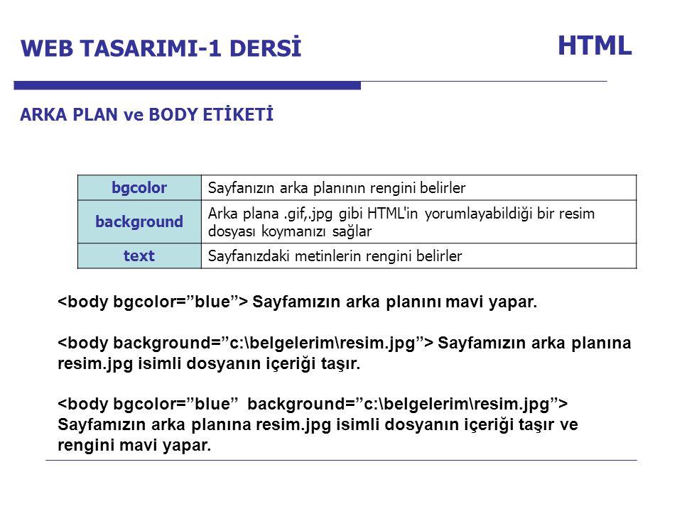 HTML WEB TASARIMI-1 DERSİ Internet Programcılığı -1 Dersi