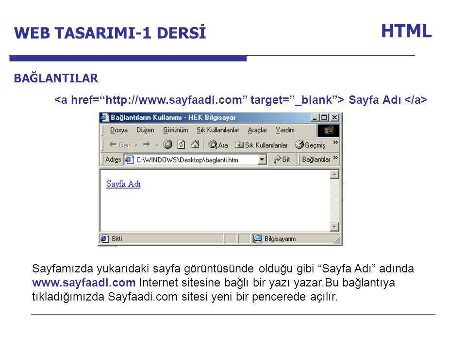 HTML WEB TASARIMI-1 DERSİ Internet Programcılığı -1 Dersi BAĞLANTILAR