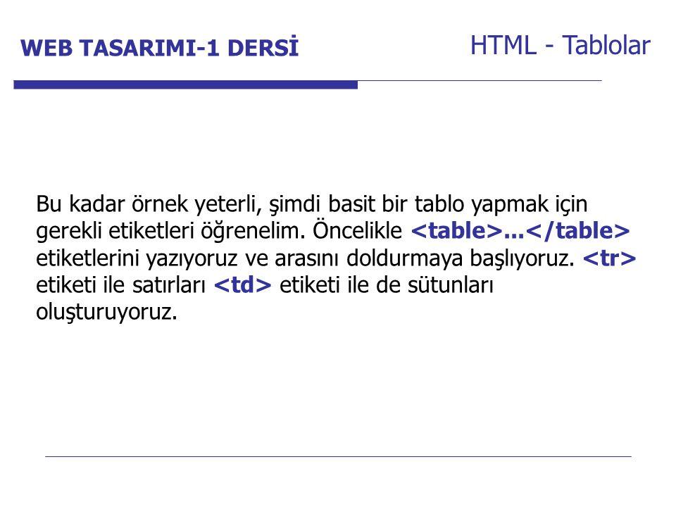 HTML - Tablolar WEB TASARIMI-1 DERSİ Internet Programcılığı -1 Dersi