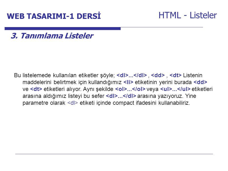 HTML - Listeler WEB TASARIMI-1 DERSİ Internet Programcılığı -1 Dersi