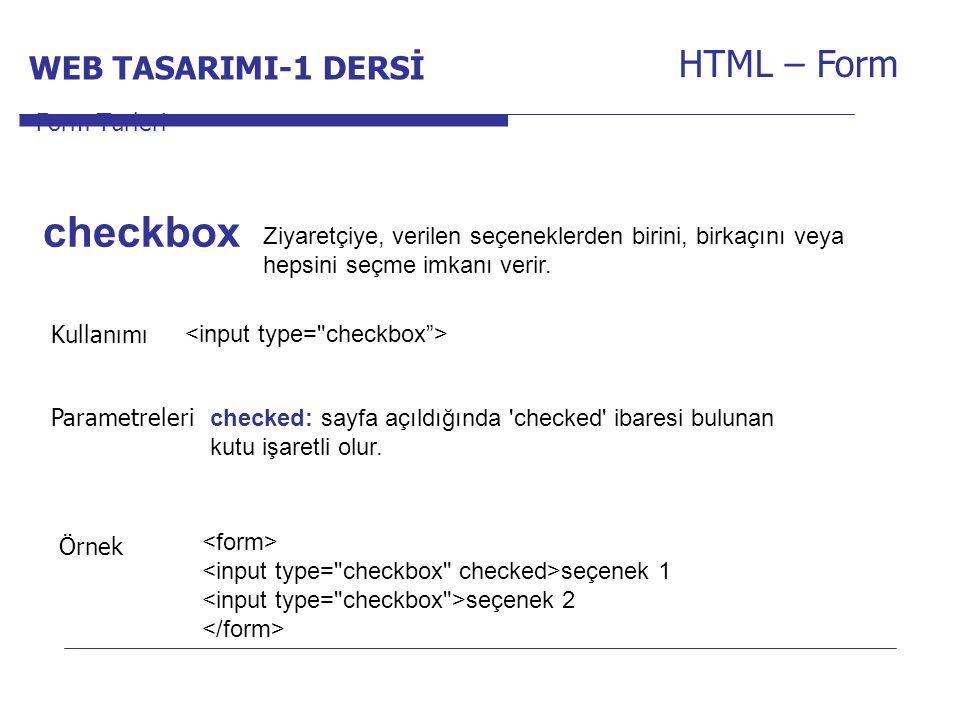 checkbox HTML – Form WEB TASARIMI-1 DERSİ